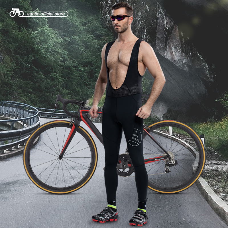 Santic Men Cycling Bib Pants Long Cycling Padded Pants Nine Tenth Bicycle Pad Breathable Bib Pants