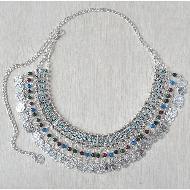 8869c210784 Nouveau Style Bohème Métal Vintage Argent Plaqué Bijoux de Corps Coloré  Perles Coin Gland Longue Chaîne