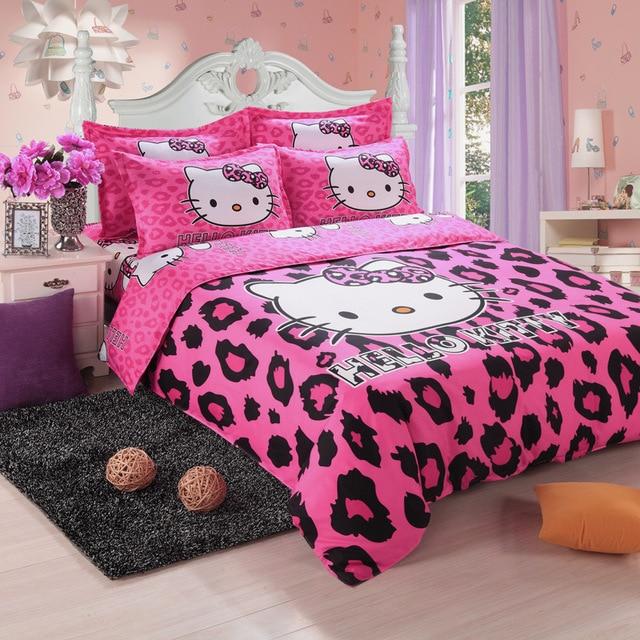 Brand Logo Hello Kitty Bedding Set Children Cotton Bed Sheets Hello