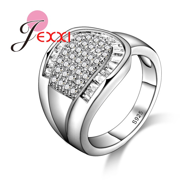 JEXXI Women/Girls Special Design Ring With Full Shiny White Cubic Zirconia 925 Sterling Silver Fashion Jewelry Wholesale Price