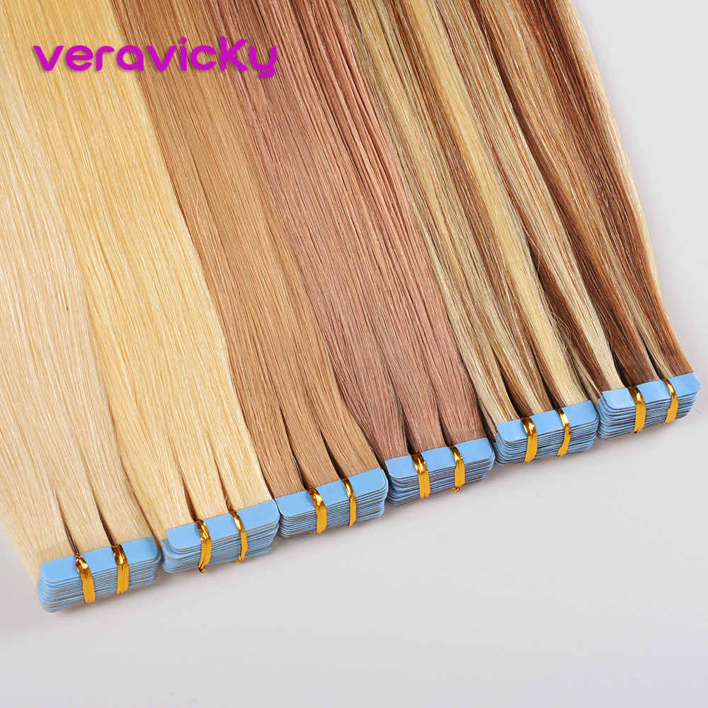 "veravicky 2.5g/pc Tape Inl Human Hair Extensions 16"" 18"" 20"" European Skin Weft Remy Hair Extension 20pcs shine Brown to Blonde"
