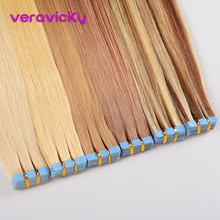 "veravicky 2.5g/pc Tape Inl Human Hair Extensions 16"" 18"" 20"" European Skin Weft Remy Hair Extension 20pcs shine Brown to Blonde(China)"