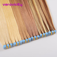 veravicky 2.5g/pc Tape Inl Human Hair Extensions 16 18 20 European Skin Weft Remy Hair Extension 20pcs shine Brown to Blonde