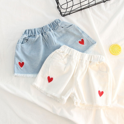 Nice Summer Girl Love Embroidery Cotton Denim Sand Wash Shorts Jeans Hot Pants Mother & Kids