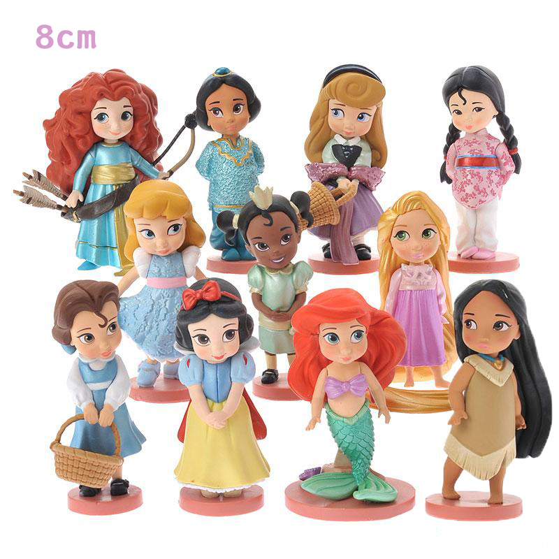 11pcs Moana Snow White Merida Princess Action Figures Mulan Mermaid Tiana Jasmine Dolls Anime Figurines Kids Toys For Children 6 pcs set princess snow white cinderella action figures toys cute q version 9cm pvc statue anime collectible dolls kids gift