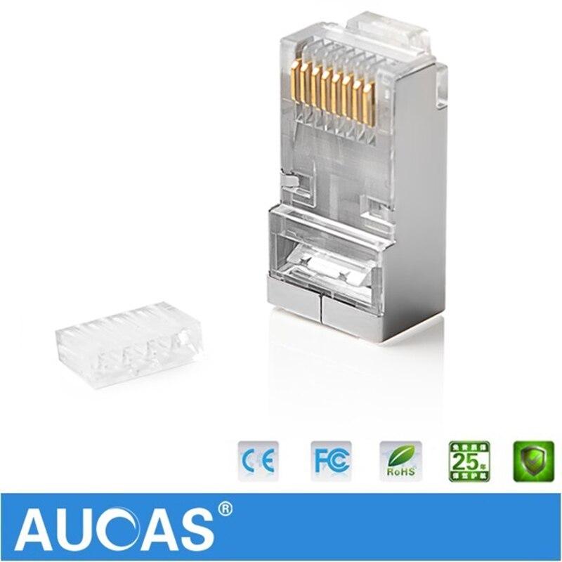 AUCAS högkvalitativ 50st 100pcs rj45 kontaktplugg cat6 skärmad 8p8c - Datorkablar och kontakter - Foto 5