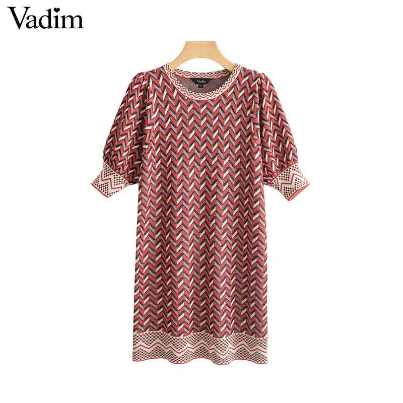 Vadim women striped print knitted mini dress patchwork stretchy puff sleeve casual female summer dresses vintage vestidos QC073