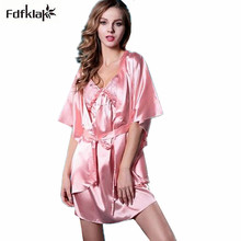 Spring summer style 2017 dressing gowns for women home wear sexy slik robes short sleeve satin gown casual bathrobe home Q805