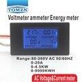 ЖК-дисплей 4 в 1  измеритель напряжения  тока  активной мощности  Синяя подсветка  панель  вольтметр  амперметр  кВт/ч  0-20 А  80-260 В  50/60 Гц