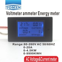 LCD 4IN1 Display Voltage Current Active Power Energy Meter Blue Backlight Panel Voltmeter Ammeter Kwh 0