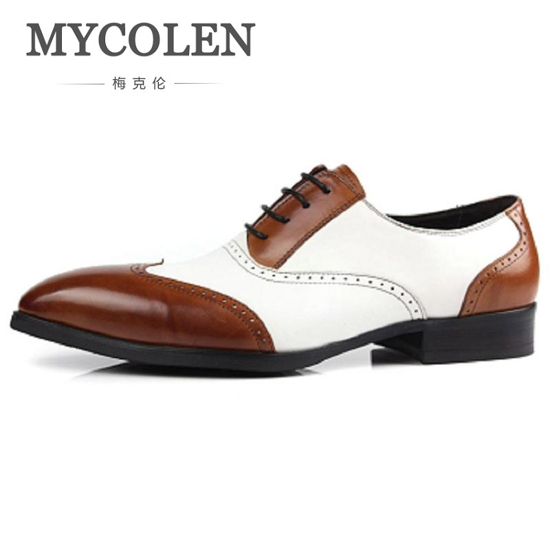 MYCOLEN Mens Dress Shoes Pointed Toe Mens Genuine Leather Oxfords Wedding Business White Shoes Lace Up Mens Fashion Flats fashion style lace up flat shoes chaussure homme black men flats pointed toe genuine leather oxfords mens wedding dress shoes