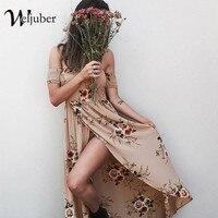 Weljuber 2018 Summer Bohemian Dress Women Boho Maxi Dress Off Shoulder Beach Dress Flower Print Vintage