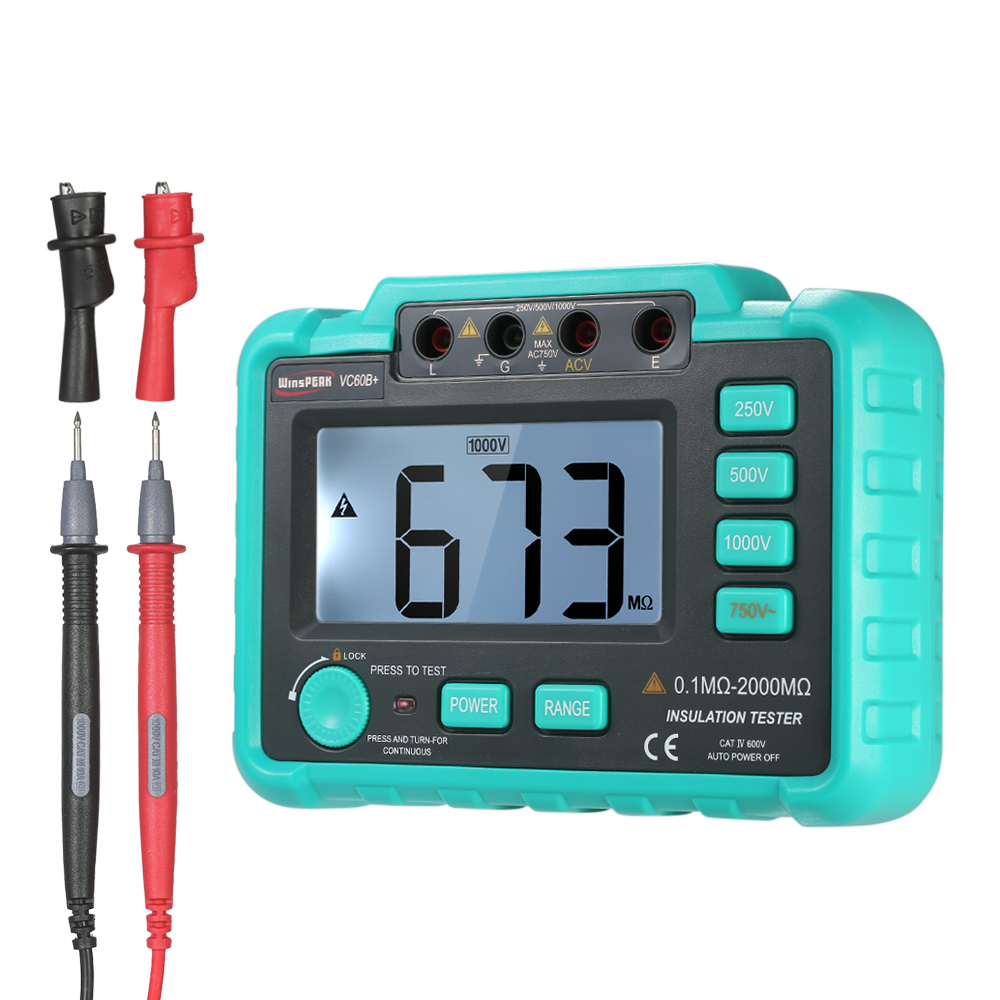 Digital Insulation Resistance Tester Megohm Meter Megohmmeter Megger  DC250V/500V/1000V AC750V Lightweight Wide Range LCD as907a digital insulation tester megger with voltage range 500v 1000v 2500v