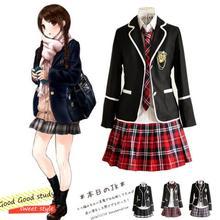 Girl Japanese School Uniform Cosplay Costume Black Red Plaid Skirt Tops Coat Sets