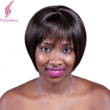 Yiyaobess 8 polegada destaques sintéticos marrom peruca curta com franja em linha reta natural bob perucas para preto feminino frete grátis