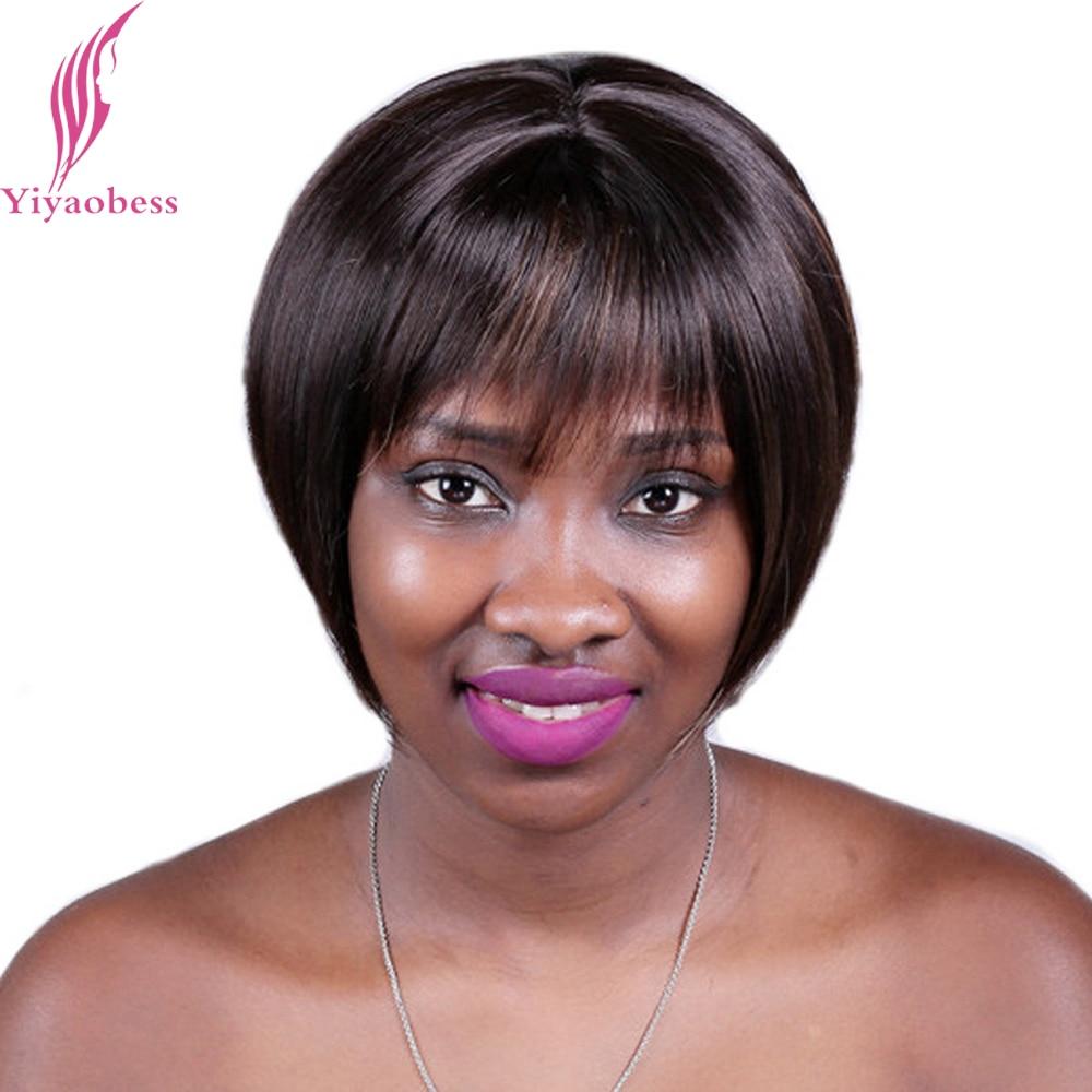 Yiyaobess 8inch Syntetiska Höjdpunkter Bruna Korta Hårklippningar Med Bangs Rak Naturliga Bob Paryk För Svarta Kvinnor Gratis frakt