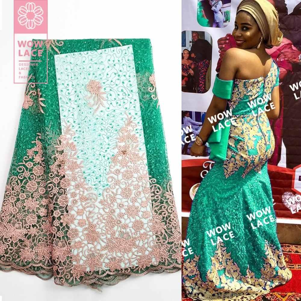 Classico Vestito da Partito di Design Tessuto Africano Del Merletto Netto Con Perline E Pietre Verde di Alta Qualità 2019 In Rilievo Ricamato Maglia di Tulle