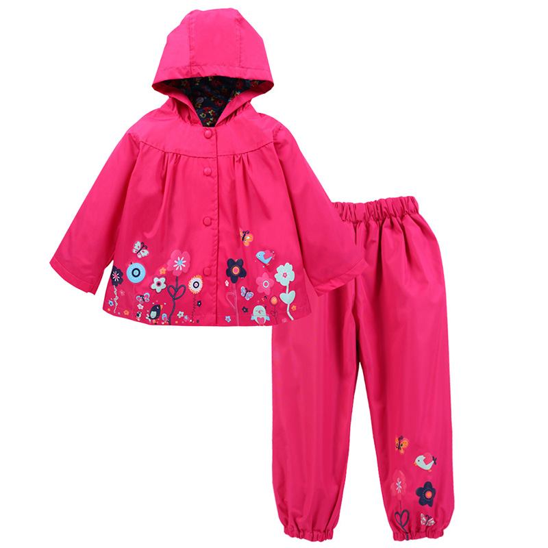 Kids Children Clothing 2018 Summer Winter Girls Clothes Jacket Hooded+Pants Sports Suit For Girls Waterproof Raincoat Set 6 Year