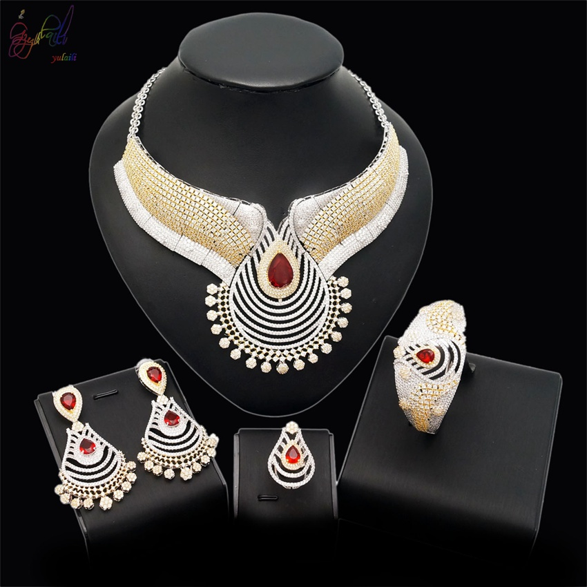 YULAILI Free Shipping 2018 New Coming Indian Style Popular AD Zircon Wedding Jewelry Sets free shipping the new popular wedding special heart shaped acrylic podium organic glass church pulpit