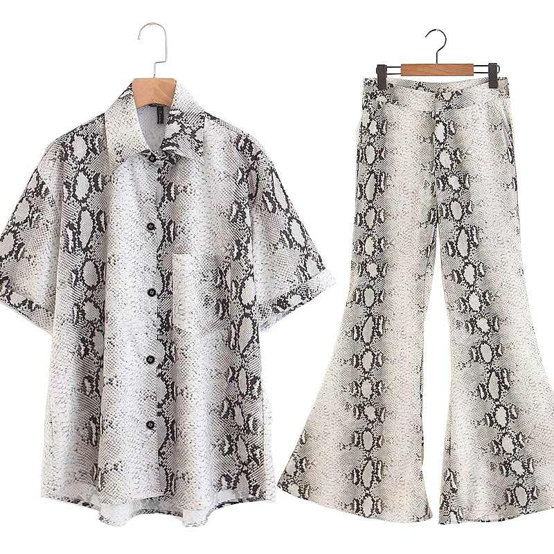 GCAROL Autumn New Sets Women Short Sleeve Snake Print Blouse Shirts Long Flares Pants Two Pieces Lady Casual Tops Pants Trousers