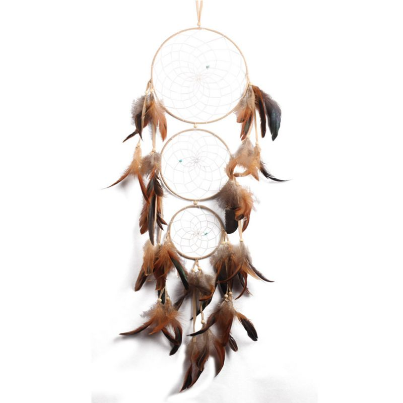 Traditioanl Handmade Geometric Natural Gypsy Multi Circles Dream Catcher with Blue Feathers Wall Hanging Ornament 1pcs