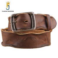 FAJARINA Quality Mens Pure Cowhide Men's Waist Belts Retro Leisure Styles Genuine 1st Head Leather Brown Belts Men Jean N17FJ088