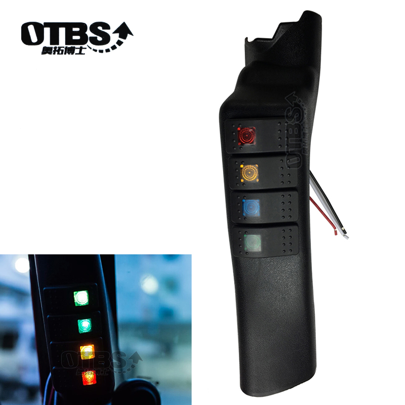 OTBS A Pillar Switch Pod Panel Left side Switch with 4 LED light Rocker Switches Kit for Jeep Switch Panel For Jeep Wrangler JK