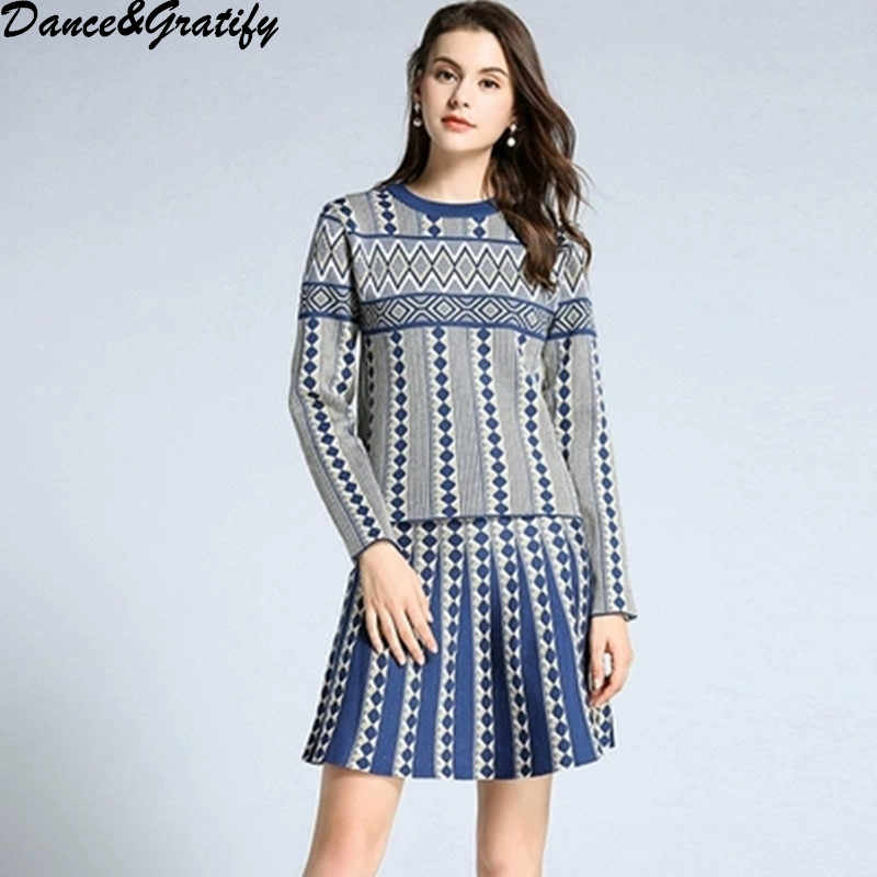 2019 New High Quality Print 2 Two Piece Set Women Elegant Knitting Sweater + A-line Skirt Casual Office Work Suit