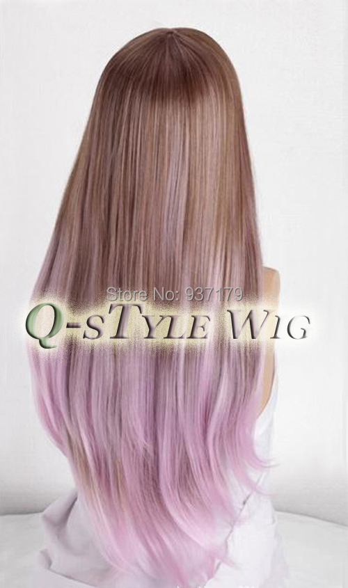 New top quality natural straight hair wig two tone taro color new top quality natural straight hair wig two tone taro color ombre style brown to light purple heat resistant hair full wig on aliexpress alibaba urmus Gallery