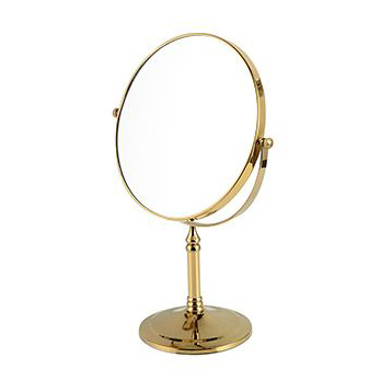 Bath Mirrors 8 Spinning 360 Degree Gold Bathroom Mirror 1x3 Magnifying Double Faced 2 Makeup Mirror Desktop Mirror Table 728K large 8 inch fashion high definition desktop makeup mirror 2 face metal bathroom mirror 3x magnifying round pin 360 rotating