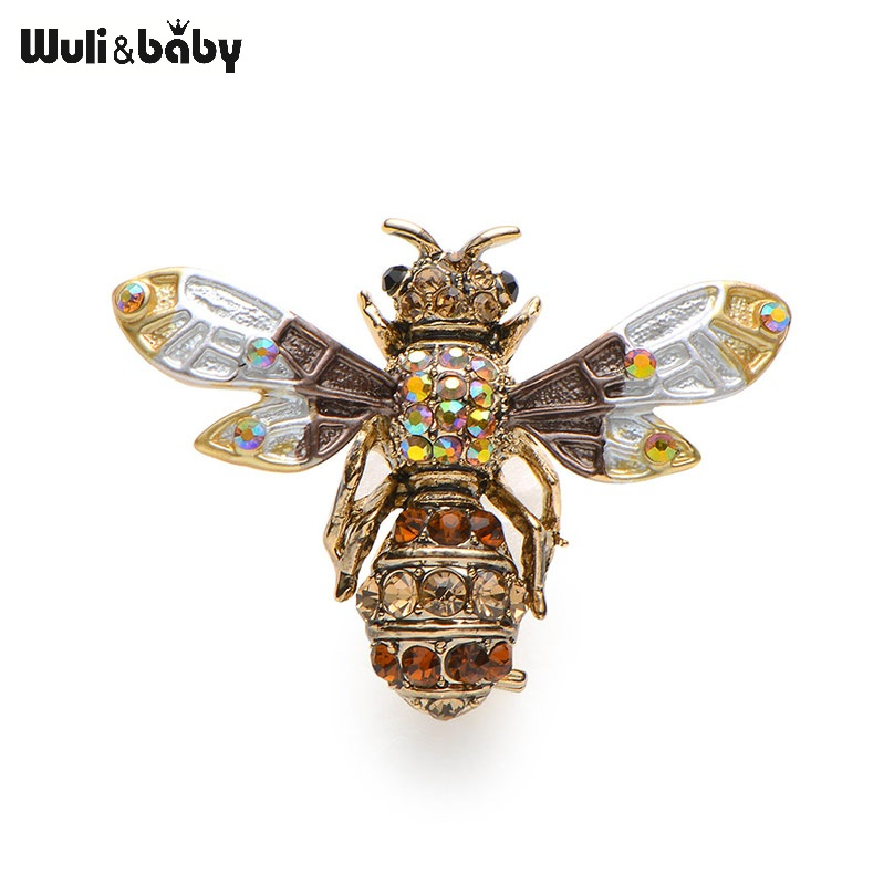 New Crystal Brown Green Color Bee piespraudes sievietēm un vīriešiem High Quality Suits Dress Sweater Brooch Pins Hat Collar Pin Gift