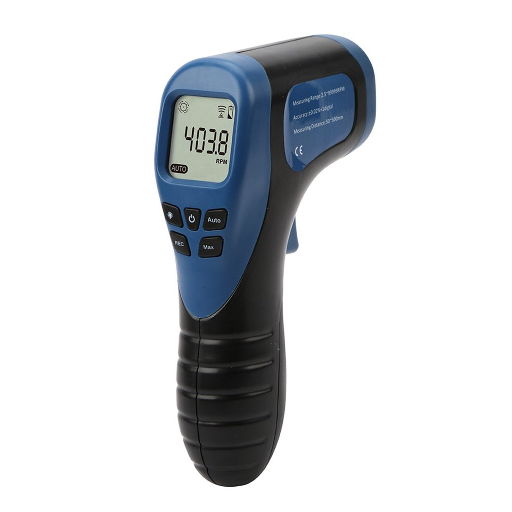 Car Exclusive Non-Contact RPM Meter Motor Speed Gauge Gun Style Surface Speed Tach Meter Speedometer Battery Not Included