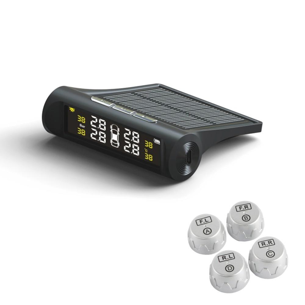 imágenes para TP880 Auto TPMS Sistema de Monitoreo de Presión de Neumáticos Neumático de Coche de la Energía Solar de Alarma de Temperatura Con 4 Sensores Externos LED Anti-Thef