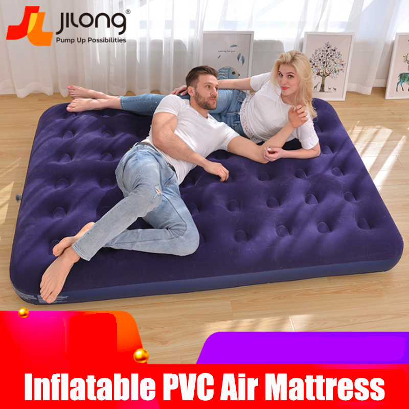 Flocking Comfortable Inflatable Air Bed PVC Portable Air Mattress Eco-friendly Outdoor Camping Wholesale
