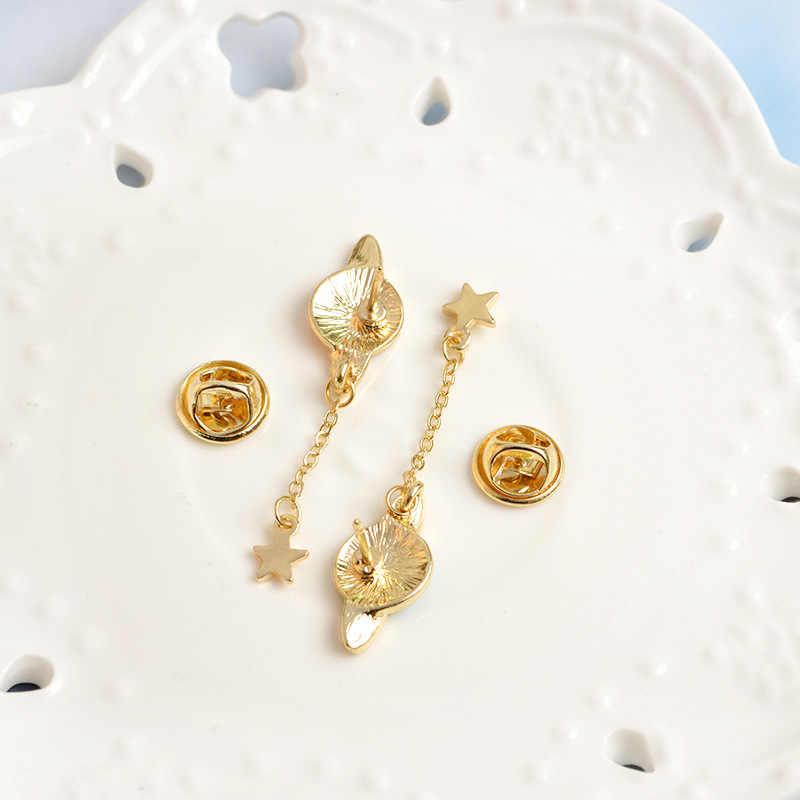 Enamel Baru Paduan Bros Kreatif Planet Liontin Bintang Bumi Bulan Bros Fashion Koboi Kemeja Pin Tas Pin Perhiasan Hadiah