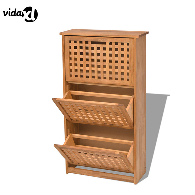 VidaXL Durable Shoe Cabinet Solid Walnut Wood Shoe Storage Bench Shoes Rack  Home Furniture Living Room