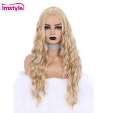 Imstyle Lange Blonde Synthetische Haar Perücke Tiefe Welle Perücken Für Frauen Hitze Beständig Faser Natürliche Haar Cosplay Perücke 28 zoll
