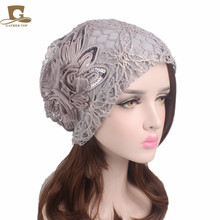 NEW lady luxury sequined flower slouchy Baggy Hat  Beanie Skull Wraps Wrinkle Cap