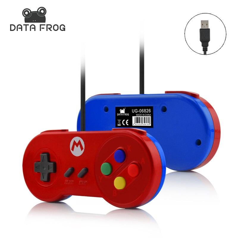 Datos de la Rana de Encargo Especial Para Nintendo SNES Controlador USB Cáscara Brillante Juego Gamepads Joystick Para PC Con Windows/MAC/Laptop