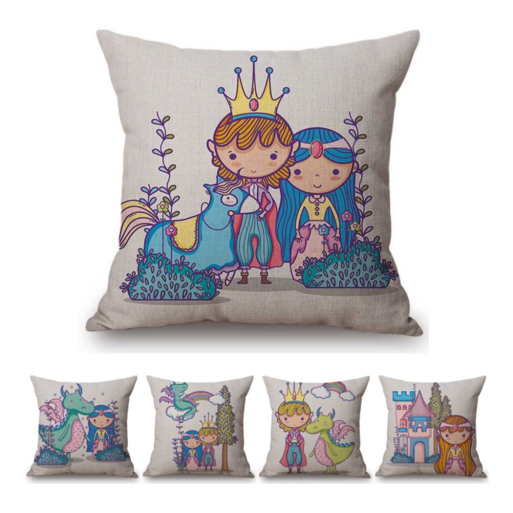 Fairy Tale Cartoon Princess Prince Children Gift Room Decoration Pillow Cover Cotton Linen Cute Cushion Cover For Kid Baby Girl