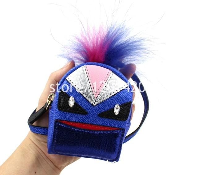 Monster inspried llavero estilo mini mochila llaveros bolso del encanto, felpa pom pom cuero genuino llavero