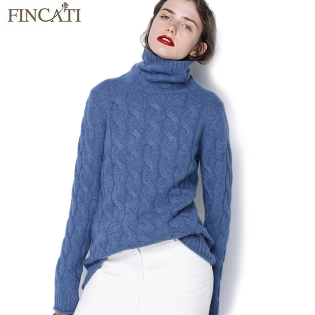 c3acbfe00 HOT SALES ITEM. Pure Cashmere Pullover Sweater Women 2018 Autumn Winter  High Quality Turtleneck Cable Knitted Soft Casual Bottom Shirt Pulls