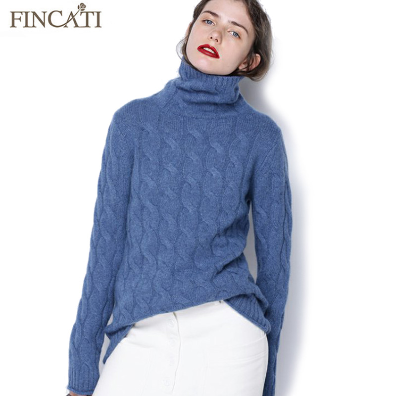 Pure Cashmere Pullover Sweater 2017 Autumn Winter High Quality Turtleneck Cable Knitted Soft Casual Bottom Shirt