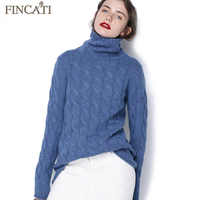 Pure Cashmere Pullover Sweater Women 2018 Autumn Winter High Quality Turtleneck Cable Knitted Soft Casual Bottom Shirt Pulls