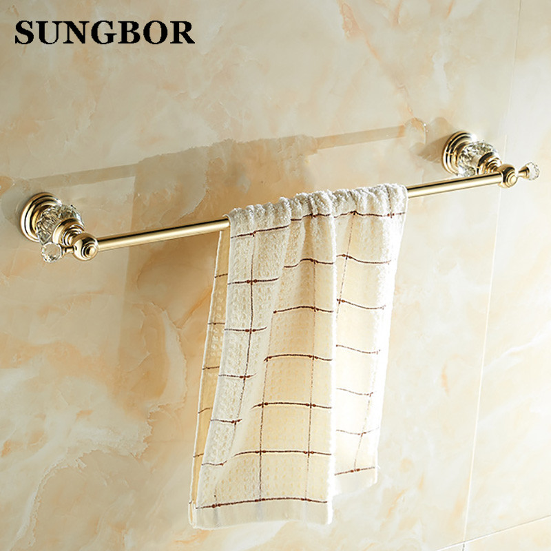 Free shipping Wholesale And Retail Golden & Crystal Bathroom Towel Bar Single Towel Hanger Brass Bathroom Accessories SH-99910K wholesale and retail free shipping brass bathroom bath towel ring holder golden color