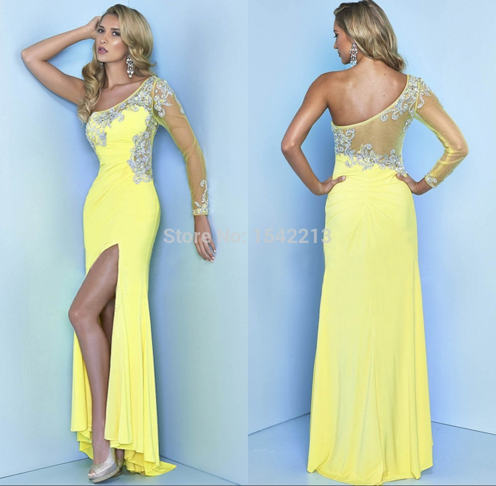 Lemon Yellow One Shoulder Beaded Long Sleeve Prom Dress 2015 High ...