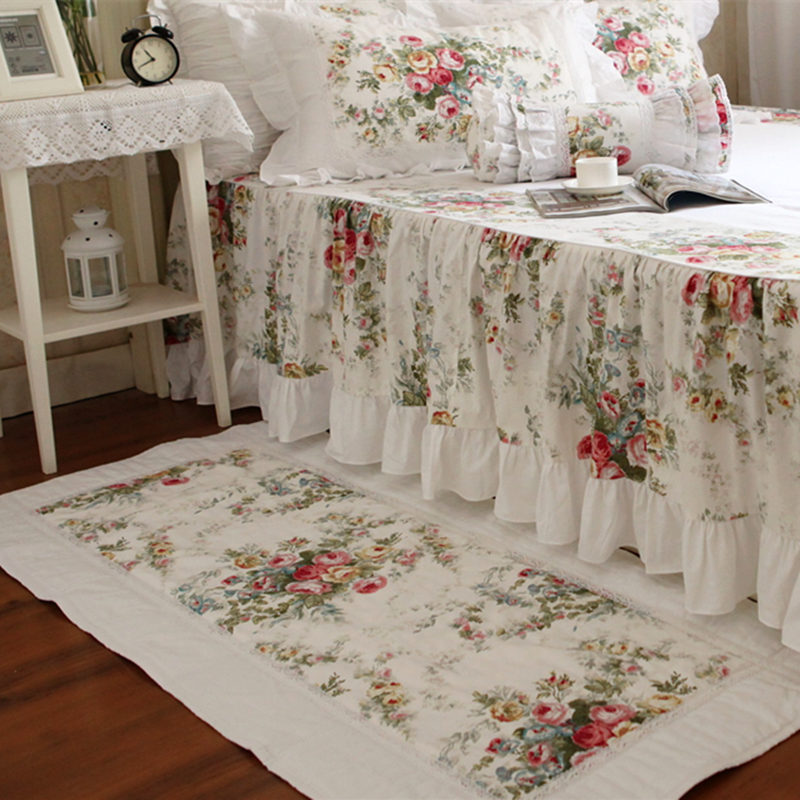 Beau tapis d'impression de fleurs épaissir les tapetes de sol de chambre tapis de princesse élégant tapis de dentelle tapis textile à la maison pour le salon