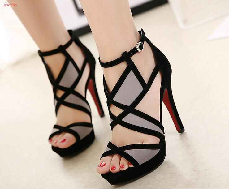 Classic beautiful  Fish mouth shoes female summer sexy high-heeled fight color wild cross strap new hollow exposed toe fine with