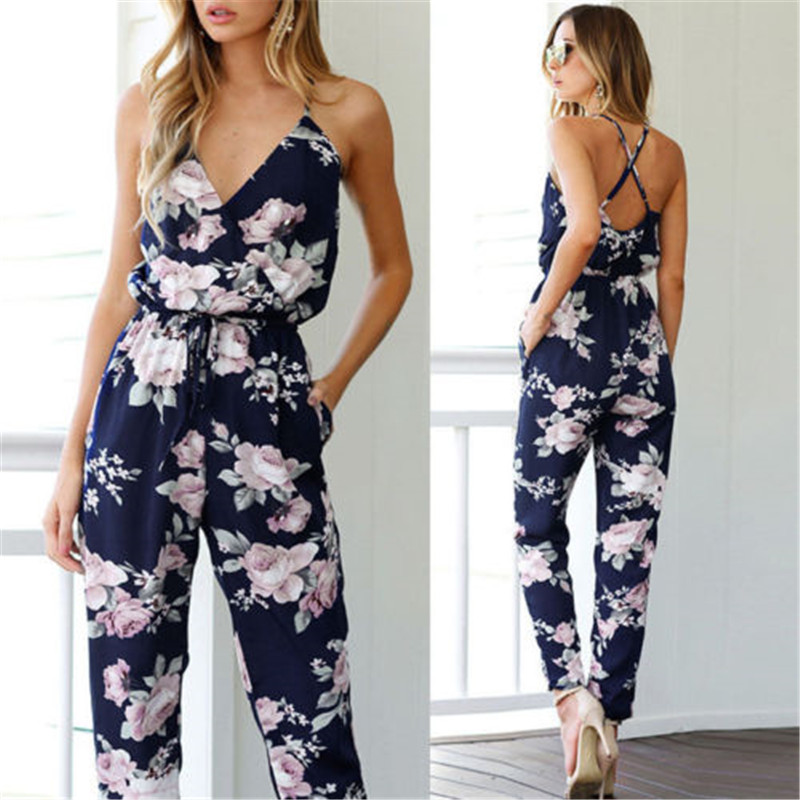 New Trendy Women Clothes Summer Bodycon Party Backless Flower Print Jumpsuit Sleeveless Polyester V-neck Romper One Pieces