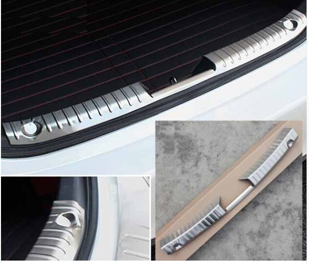 ACCESSORIES FIT FOR MAZDA 3 AXELA 2014 2015 2016 OUTER INNER REAR BUMPER PROTECTOR CARGO BOOT DOOR SILL PLATE COVER TRUNK SCUFF for nissan qashqai j11 2014 2015 2016 stainless steel rear outer inner bumper protector door sill plate molding garnish 2 pcs